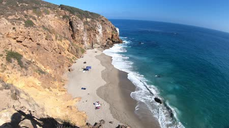 promontory : California West Coast. Panoramic view of Pirates Cove beach, a small cove on west side of Point Dume, Malibu coast, United States. Blue sky, summer season, sunny day. Pacific coast in CA. Copy space.