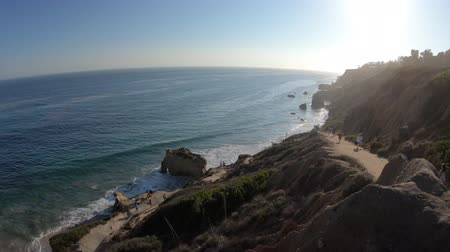 pilares : Panoramic view from coastal walk leading down to El Matador State Beach at sunlight. Pacific coast in California, United States. Pillars, boulders and rock formations of most photographed Malibu beach