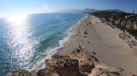 lookout point : Aerial view of panoramic Point Dume State Beach from Point Dume promontory on Malibu coast, Pacific Ocean in CA, United States. California West Coast. Blue sky, summer season in sunny day.