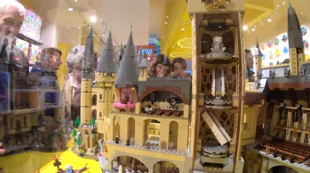 lego : BOLOGNA, ITALY- DECEMBER 6, 2018: Harry Potter Hogwarts Castle close up in Lego blocks at Lego store. Located in Via Indipendenza street in Bologna downtown.