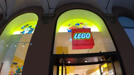 lego : BOLOGNA, ITALY- DECEMBER 6, 2018: Logo of Lego shop of Bologna. LEGO is a line of plastic construction toys that are manufactured by The Lego Group in Billund, Denmark.