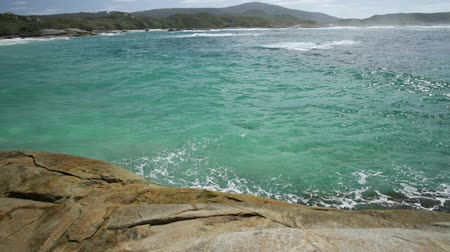 william : Australian travel summer destination. Waterfall Beach in Denmark region, Western Australia. Great Southern Ocean coastline in William Bay National Park. Sunny day, blue sky. Stock Footage