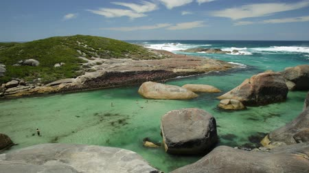 william : Australian travel summer destination. Aerial view of Elephant Cove Beach in William Bay National Park, Denmark, Western Australia. Summer season. Great Southern Ocean coastline. Sunny day, blue sky.