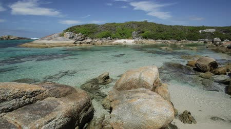 william : William Bay National Park, Denmark and Albany Region, Western Australia. Scenic landscape of sheltered waters of Madfish Bay surrounded by rock formations. Popular summer destination in Australia. Stock Footage