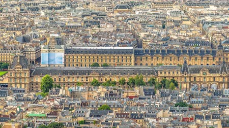 paříž : Aerial panorama of the long Louvre Museum palace Famous landmark of Paris with Paris skyline and its historical buildings with typical french architecture roofs.