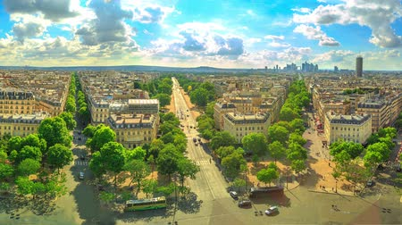 triumphal arch : Paris 360 degrees skyline panorama from top of Arc de Triomphe on Champs Elysees street.Tour Eiffel tower, Basilica of the Sacred Heart and Tour Montparnasse tower landmarks in Paris, France, Europe.