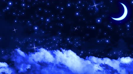perigee : Silent blue night sky with moon, stars and clouds like the Christmas night.