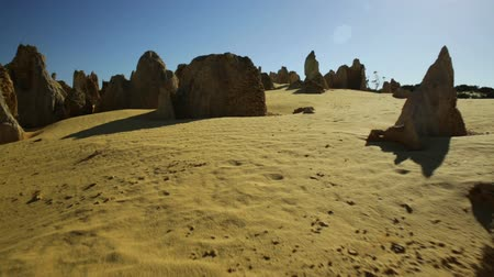 pilares : POV hyper lapse simulation of ground flight over a desert or an alien planet scenario. In Pinnacles Desert in Nambung National Park, Western Australia.