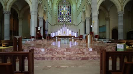 marys : Perth, Western Australia - Jan 3, 2018: central nave of the St Marys Cathedral in Perth city. The Cathedral of the Immaculate Conception of Blessed Virgin Mary in neogothic style.