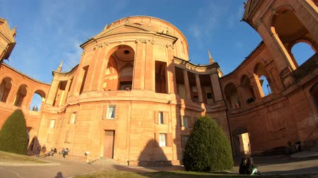 bolognai : Sanctuary of Madonna di San Luca basilica church in a sunny day with blue sky. Central facade of Cathedral of San Luca on the hills of Bologna, Emilia-Romagna, Italy. Famous landmark. Copy space