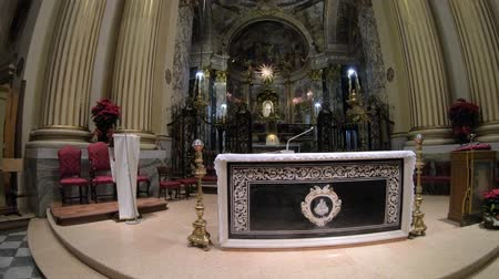 blessed virgin : Bologna, Italy - January 12, 2018: central altar of Madonna of San Luca Sanctuary with icon of the Madonna with the child in the distance. Panorama of the altar in the crossing.