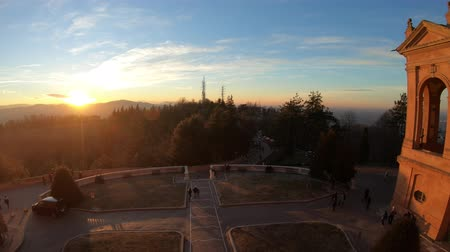 madona : Scenic aerial view of hills above Bologna from Basilica of Our Lady of San Luca during a beautiful sunset light. The courtyard of Sanctuary represents a spiritual meeting point for tourists and locals Dostupné videozáznamy
