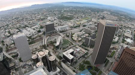 Los Angeles, California, United States - August 9, 2018: panoramic view of Los Angeles cityscape in California, United States. Oue Skyspace Tower in LA Downtown. Travel and tourism in America. Стоковые видеозаписи