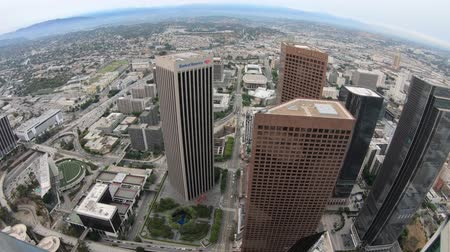 us bank tower : Los Angeles, California, United States - August 9, 2018: top view of Los Angeles cityscape in California, United States. panoramic downtown of LA skyline at sunset light. Travel and tourism in America