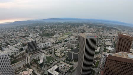us bank tower : Los Angeles, California, United States - August 9, 2018: Aerial view of Los Angeles skyline in California, United States. Looking at Downtown of LA cityscape from observation deck by sunset.