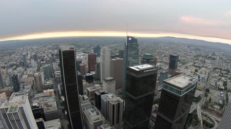 observation deck : Los Angeles, California, United States - August 9, 2018: Panorama from Oue Skyspace Bank Tower in Los Angeles, California, United States at sunset light. Panoramic terrace above Downtown of LA skyline