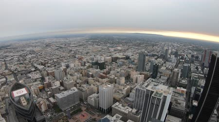 us bank tower : Los Angeles, California, United States - August 9, 2018: Aerial view of Los Angeles skyline in California at sunset light. Travel and tourism in America. Downtown LA cityscape, top panoramic terrace.