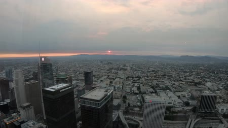 us bank tower : Los Angeles, United States - August 9, 2018:Aerial view of Los Angeles skyline at panoramic terrace of Oue Skyspace. Downtown of LA cityscape from observation deck on 70th floor. Sunlight shot.