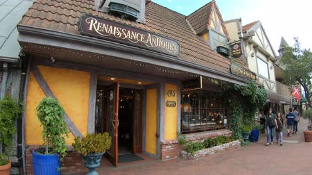 antiques : Solvang, California, United States - August 10, 2018: the Renaissance Antiques shop in Danish Village, finest antique galleries with vintage jewelry, restored clocks and antique music boxes.