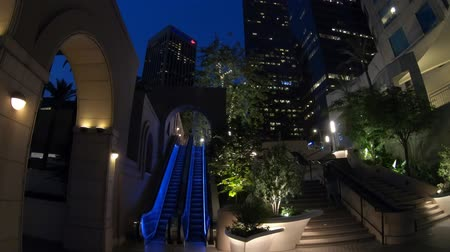 us bank tower : Los Angeles, California, United States - August 9, 2018: Bunker Hill Steps by night to popular Oue Skyspace U.S. Bank Tower with observation deck at 70th floor. Downtown LA, Southern California.