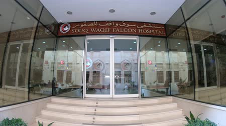 sólyom : Doha, Qatar - February 23, 2019: entrance of Souq Waqif Falcon Hospital, a specialist hospital where injured birds are treated. Hunting with falcons is a popular sport in Qatar, Persian Gulf.