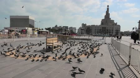 qatar state mosque : Doha, Qatar - February 20, 2019: Many pigeons flying in Souq Waqif square. Middle East, Arabian Peninsula, Persian Gulf. Fanar Islamic Cultural Center with Spiral Mosque and Minaret on background.