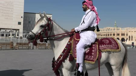 arabian horses : Doha, Qatar - February 20, 2019: police officer in traditional 1940s Qatari uniform riding white Arabian Horses at square of Souq Waqif in a sunny day. Popular tourist attraction in Doha city center.