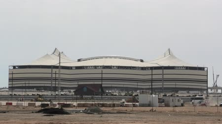 world cup : Al Khor, Qatar - February 23, 2019: closeup of At Bayt Stadium with work in progress, in Al Khor City, one of 12 venues used in 2022 FIFA World Cup. Copy space with blue sky.