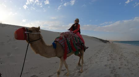 wielbłąd : Happy blonde woman with camel on a sand beach of Khor al Udaid in Persian Gulf of southern Qatar. Caucasian tourist on a camel ride, popular tour in Middle East of Arabian Peninsula. Sunny blue sky.