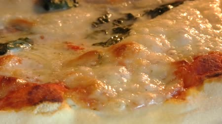 salame : Round pizza with mozzarella cheese, tomato sauce and basil leaves, cooking in the oven. Close up view of baking pizza sauce.