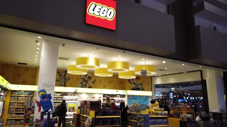 lego : Istanbul, Turkey - May 7, 2019: new Lego store of the new Istanbul Airport. The Istanbul Yeni Havalimani airport. Stock Footage