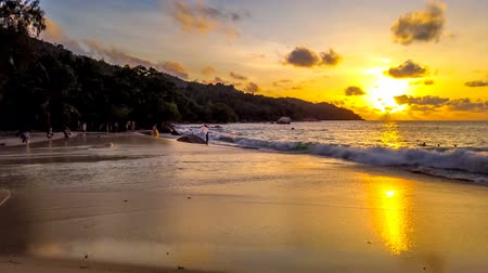 turistická atrakce : Praslin, Seychelles - April 22, 2019: HYPER LAPSE of people enjoying popular Anse Lazio beach. Turquoise Indian ocean in Praslin Island, Seychelles. Sunny beautiful sky at sunset. Dostupné videozáznamy