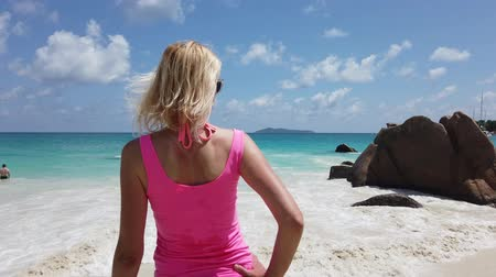 enjoys : scenic landscape of bay of Anse Lazio. Tourist woman in pink top standing at Lazio beach. Female lifestyle looks turquoise Indian Ocean in Seychelles.