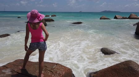 enjoys : Seychelles aerial view. Carefree woman looking at Anse Lazio in Praslin Island, Indian Ocean. Lifestyle female on one of Praslins most popular beaches: white sand, granite stones and crystal sea. Stock Footage