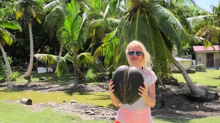 endemic : Tourist woman holding a female Lodoicea Maldivica nut known as sea coconut at Curieuse, Inner Islands, Seychelles. The coco de mer is endemic to Praslin and Curieuse. Sunny blue sky.