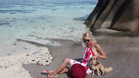 kei : Low tide, crystal sea and granite rocks at Anse Source dArgent one of the most beautiful beaches in La Digue, Seychelles. Elegant lifestyle tourist woman touches a cute dog sitting on big boulders.