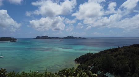 praslin : Tropical luxury destination. Panorama of Anse Gouvernement with turquoise sea, Praslin, Seychelles. Overlook Cote dOr Bay with Curieuse, St. Pierre and Chauvre Souris Island.