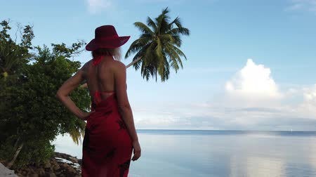 águas : Happy blonde woman in red sarong on a shore enjoying in tropical paradise destination. Coconut palm tree stretches into ocean at sunset light. Anse St Sauveur near Anse Cimetiere, south of Praslin.