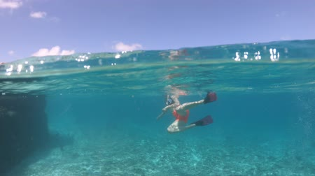 marine park : Third person view of woman snorkeling underwater at St. Pierre Island. Split view exploring sea life of Indian Ocean, under and above water. Coral reef landscape of Seychelles.
