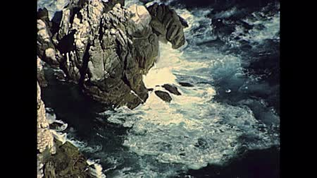 promontory : Aerial view of lighthouse cliff of Cape Point in Cape Peninsula, South Africa. Archival of Cape Town city of South Africa in 1980s