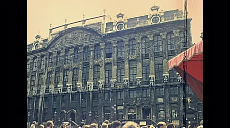 BRUSSELS, BELGIUM - CIRCA 1975: House of the Dukes of Brabant in Grand Place. Historical palace: Les Choux de Bruxelles with office of Kbc Private Banking. Bruxelles capital city of Belgium in 1970s.