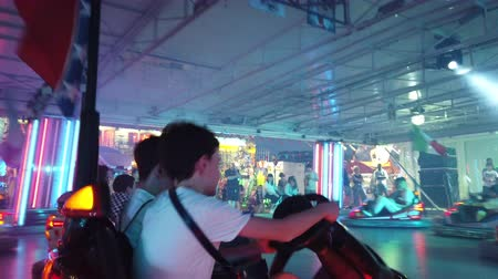 luna : Province of Bologna, Italy - June 8, 2019: Amusement Park Bumper Cars driving point of view TIME LAPSE. Cars with European contries flags.