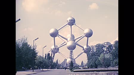seventy : BRUSSELS, BELGIUM - CIRCA 1976: Atomium building since 1958 for Brussels Worlds Fair Expo 58 in the Heysel Plateau area, by Ossegempark park. Historical archival in Bruxelles city of Belgium in 1970s