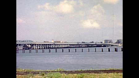 lagos : Old bridges on Lagos lagoon to Lagos island. Historical archival of Lagos city of Nigeria state of Africa in 1970s.