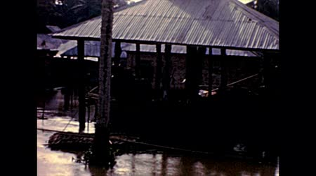 lagos : fishermen village with huts of Lagos island. Historical archival of Lagos city of Nigeria state of Africa in 1970s.