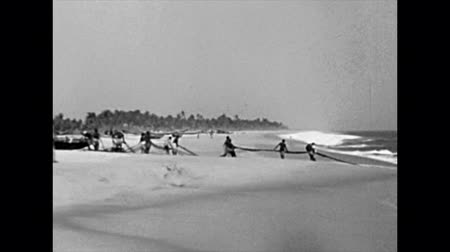gine : LAGOS, NIGERIA, AFRICA - circa 1977: Black fishermen pulling a fish net on the beach on Guinea Gulf sea. Historical archival of Nigeria state of Africa in 1970s.
