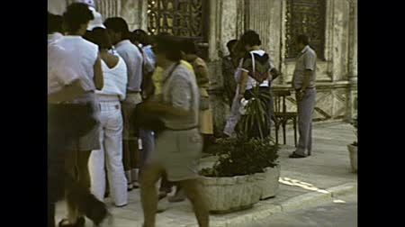 cami : CAIRO, EGYPT, AFRICA - circa 1982: entrance gate with guards of the Mosque of Muhammad Ali with tourists visiting. Historical archival of Cairo capital city of Egypt in 1980s.