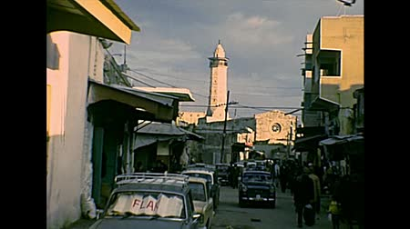 jewish people : GAZA, PALESTINE, ISRAEL- CIRCA 1979: Street of the old town to the Great Mosque of Gaza, during the Israeli occupation. Archival Gaza Strip of Israel and Palestine in 1970s. Stock Footage