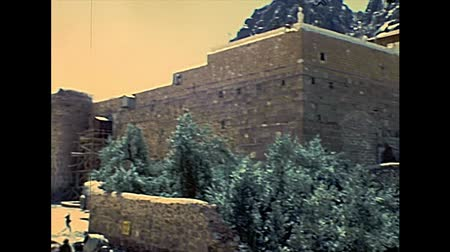 bell tower : SINAI, EGYPT - circa 1979: Architecture of the Saint Catherine Monastery walls on slopes of Mount Horeb in the Sinai Peninsula, the oldest Christian Monastery of Egypt, during the Israeli occupation.