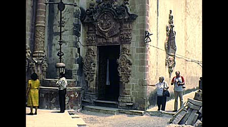 семидесятые годы : TAXCO DE ALARCON, MEXICO - circa 1970: Cathedral of Santa Prisca by side door, before it was covered. Built between 1751 and 1758. Archival of Mexico in South America in 1970s.